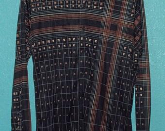 "70s Vintage ""Kennington"" Black and Earth Tones Guys Nylon Disco Hipster Shirt — Size M"