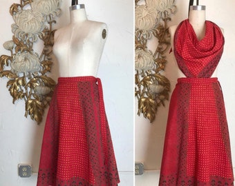 1970s skirt and top batik print skirt vintage wrap skirt size medium bohemian skirt set 2 piece set cotton skirt i magnin skirt hippie skirt