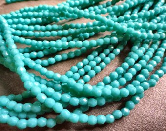 3mm Turquoise Fire Polished Beads - Faceted Beads - Czech Glass - Bead Soup Beads
