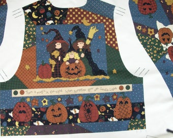 Halloween Vest / PrePrinted Fabric Panel / Ready to Sew / Leslie Beck for V.I.P. /  Cranston Prints / Fabric Craft Panel