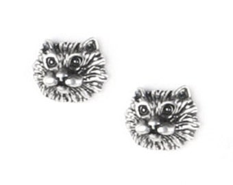 Tiny Cat Faces Sterling Silver Post Earrings
