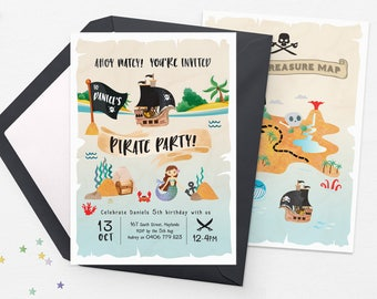 Pirate party invitations, Pirate invitations Printable Pirate birthday invitations, Pool party invitations Mermaid party invitations boy