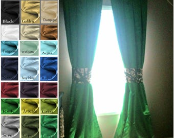 Princess Inverted Pleat Green Satin Drapes with blackout lining