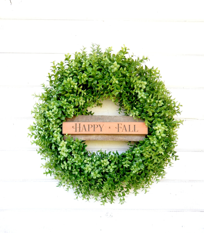 Fall Wreath Boxwood Wreath Fall Door Decor Large Door Wreath Sign Wreaths HAPPY  FALL Autumn Wreath Housewarming Gift Scented Wreath