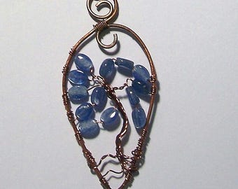 Antiqued Copper Unique Tree of Life with Kyanite Oval Beads by Carol Wilson of Je t'adorn