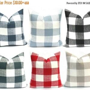 15% Off Sale Buffalo Check Pillow, Decorative Pillow, Plaid Pillow, Gray Pillow ,black buffalo check, Red pillow, Throw Pillows,  pillows, t