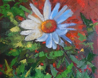 "Flower Painting, White Daisy, Palette Knife Painting, 12x12"" Original Floral, Free Shipping in USA"