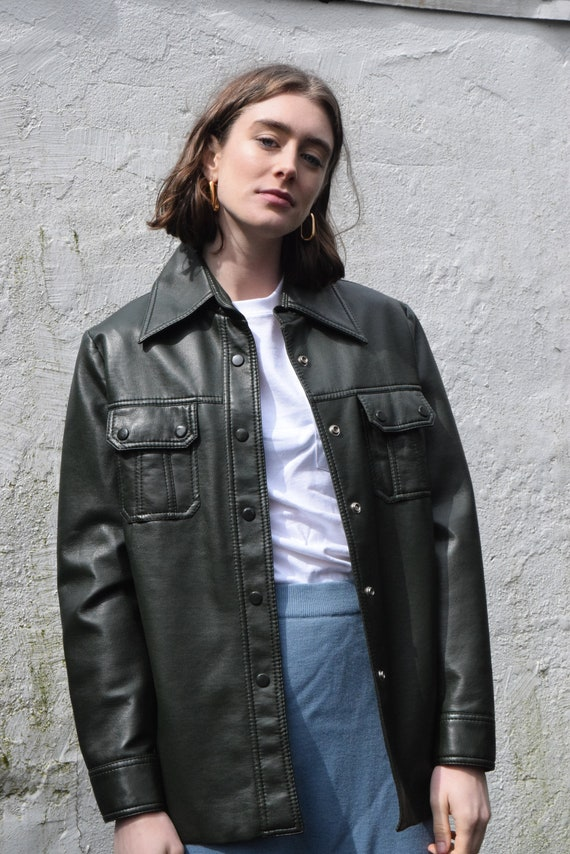 Jacket Utility Leather Forrest Vegan Green XxnzqwI4O