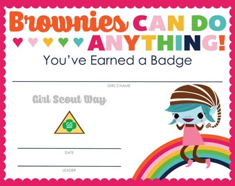 Complete Set of Girl Scout Brownie Badge and Journey Certificates