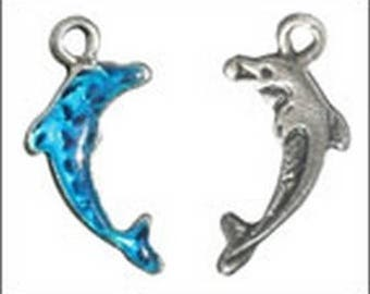 Blue enamel Dolphin charm