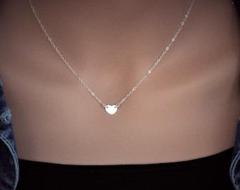 Tiny Heart Necklace Sterling Silver / 14k gold fill / Rose gold fill - Personalized Tiny Heart Necklace - Heart Choker - Sideways heart