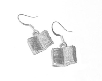 Silver-plated Book Earrings