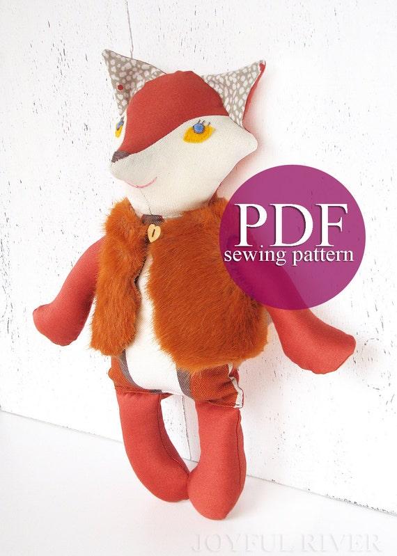 Fox sewing pattern PDF - Fox doll sewing tutorial- Stuffed toy Fox ...