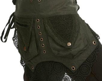STEAMPUNK utility belt, junk Gypsy, Pocket BELT, hip pack, waist pack, fanny pack, festival clothing, Ccbedm