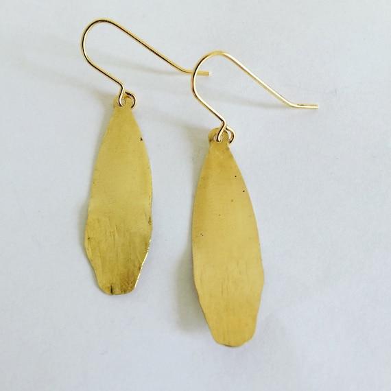 Raw Brass Hammered Earrings - Gypsy - Festival - Gold -