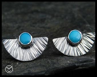 Natural Sleeping beauty turquoise earrings, sterling silver 0.925,  fan earrings, posts earrings, studs, December birthstone, 223