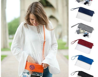 Monogrammed Clear Stadium Bag Crossbody Clear Bag Personalized Clear Purse Football Bag Clear Tote Stadium Purse Game Day Bag Clear Clutch