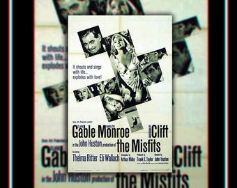 THE MISFITS On Linen (1961) Marilyn Monroe Very Rare 27x40 Rolled US One Sheet Movie Poster Original Vintage Collectible