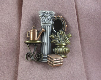 Historic Home Brooch- Interior Designer- Shabby Chic- Country Home- mixed metal jewelry
