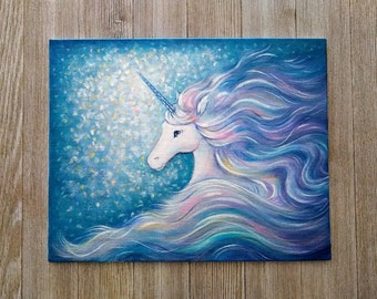 Unicorn Dream Children's Fantasy Bedroom Original Canvas Board Art Painting signed by artist Unframed