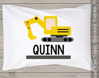 Construction theme with excavator pillowcase / pillow - custom personalized pillowcase great birthday gift PIL-073