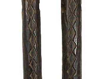 Fang Figural Trumpets Pair Gabon African Art 70 inch 72845