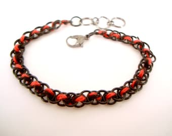 Red and Black Jump Rings Bracelet small narrow goth industrial dark fashion woven rings with red and black twist cotton cord