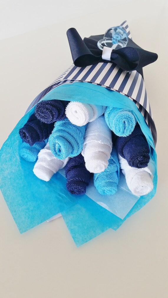 Baby washcloth bouquet baby boy baby gift washcloth flowers like this item negle Images