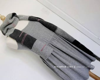 hand knit long scarf || knitted garter scarf | knit winter scarf | striped scarf | one of a kind scarf -grey stripe 78''