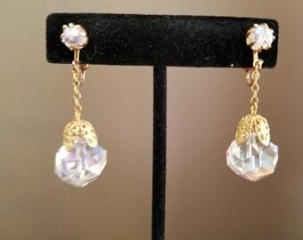 Vintage Crystal & Gold Dangle Clip On Earrings