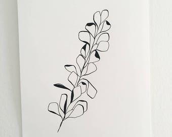 plant ink original drawing ooak