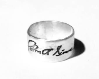 Signatur-benutzerdefinierte Silber Metall Ton-Ring