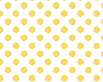 Riley Blake Medium Dot Yellow Fabric, 1 yard