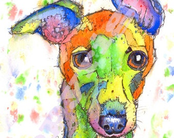WHIPPET PRINT Picture Lurcher Greyhound Dog Painting of Original Watercolour Painting Watercolor Animal Sighthound Art by Josie P.