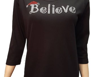 Believe Santa Bling Christmas Shirt. Combed cotton poly blend. S-3XL