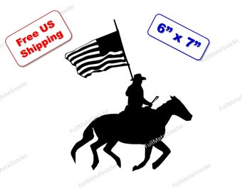 """Cowboy Riding with American Flag Decal - 6"""" x 7"""" - FREE SHIPPING"""