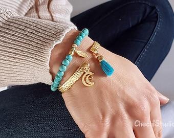 Turquoise Bracelet, Gold Bangle Bracelet, Bracelet Set, Gold Charm Bracelet, Bridesmaid Gift, Beaded Bracelet Boho Bracelet, Tassel Bracelet
