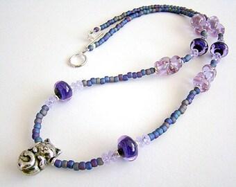 Catnip Dreams Necklace, Pewter Cat Pendant, Blue Purple Czech Lampwork Glass Beads, Long Seed Bead Necklace, Boho Jewelry, Cat Necklace