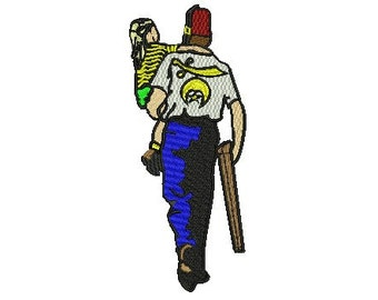 Shriner and child jacketback embroidery design