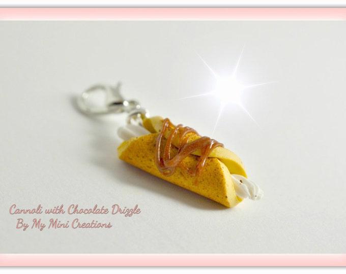 Cannoli Charm, Miniature food, Miniature Food Jewelry, Food Jewelry