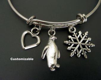 Penguin Bracelet /  Penguin Bangle / Winter Bangle /  Snowflake Bracelet  / Expandable Bangle / Charm Bracelet / Stackable Bangle /