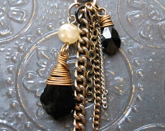 Jet Baroque Crystal, Cubic Zirconia, Vintage Glass Pearl and Chain Dangle Pendant - 2 inches in length