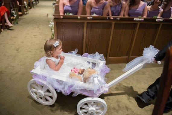 Wedding Wagon For Baby. Flow Girl Pulling Baby Wedding Carriage ...