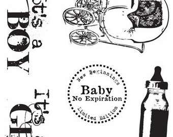 Baby Cakes Baby Newborn Sayings Motifs Bottle Buggy Clear Cling Stamps - 7 Gypsies Hampton Art New In Package 7 Piece - Retired 2013 - HTF