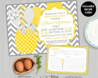 Yellow Stock the Kitchen Bridal Shower Invitation with Recipe Card Printable Gold Yellow Grey Chevron Teal Gray Printable Digital File