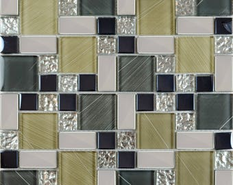 "Crystal Glass Tile Sheets Hand Painted Kitchen Backsplash Floor Plated Glass Mosaic Tiles Cheap Wall Decor (6 PCS, 11.8""x11.8"" /each)"