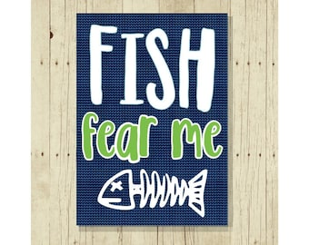 Fish Fear Me, Gift for Fisherman, Funny Magnet, Fishing Magnet, Fishing Gift, Cute Fridge Magnet, Cute Magnets, Fish, Gifts Under 10