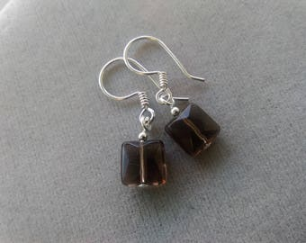 Petite Smokey Quartz and Sterling Silver Earrings
