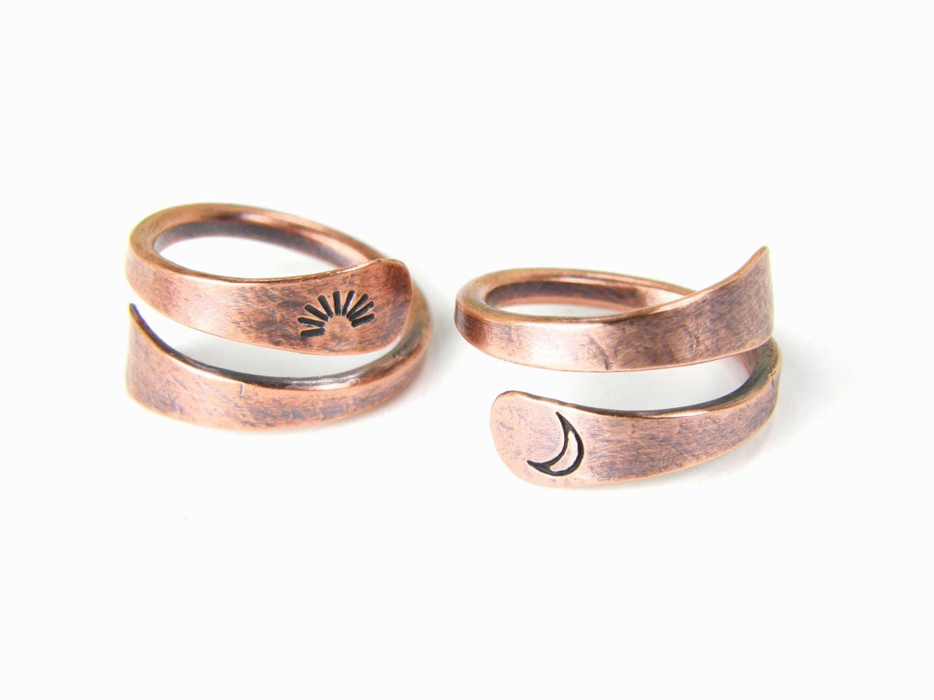 Sun & Moon Copper Rings SET-OF-TWO Soul Mate Rings
