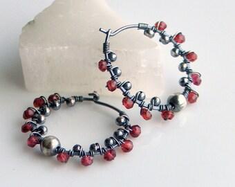 Garnet Pinwheel Hoop Earrings, Oxidized Sterling Hoops with Garnets, Textured Garnet Earrings, January Birthday